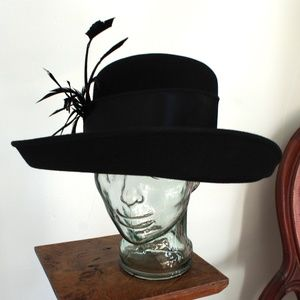Black Felt Andre Hat with Feathers